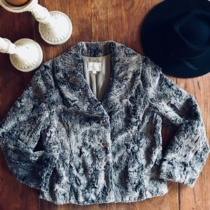 Jackets & Blazers - Gray Soft Fluffy Faux Fur Button Up Jacket